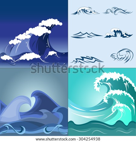 Vector image. Several species of sea waves - stock vector