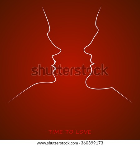 vector image - silhouette of female and male face on a red background