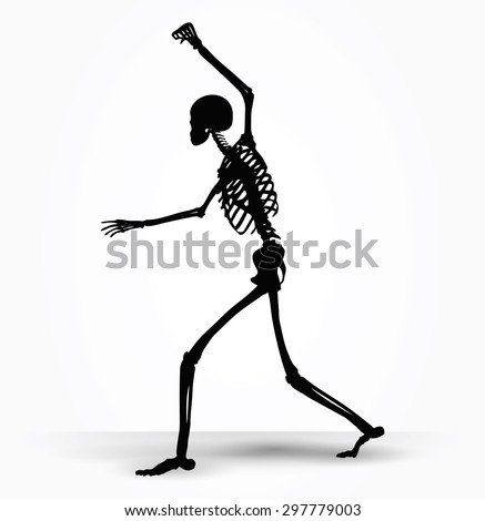 Vector Image - skeleton silhouette in intimidating pose isolated on white background