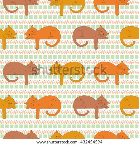 Vector Image slumbering cats in different shades of red