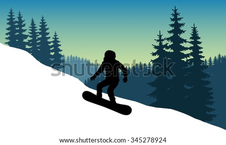 Vector Image snowboarder in a helmet with a hillside coming down at speed while standing on the board. Safety. Trick. The descent from the mountains in the background of mountains and dense forests.