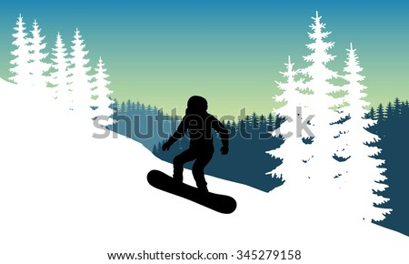 Vector Image snowboarder in a helmet with a hillside coming down at speed while standing on the board. Winter sport. Jumping snowboarder during descent. Safety. - stock vector