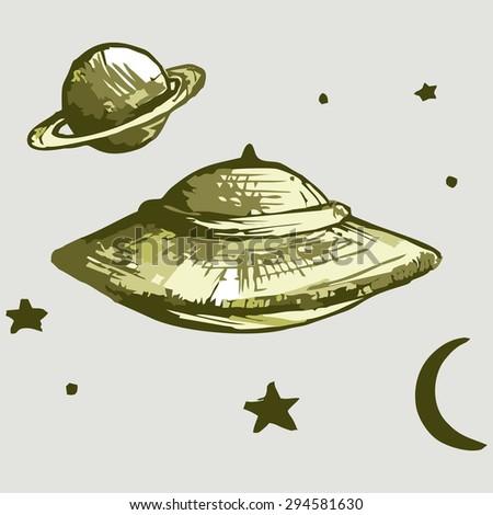 Vector Image. Spaceship aliens. UFO - stock vector