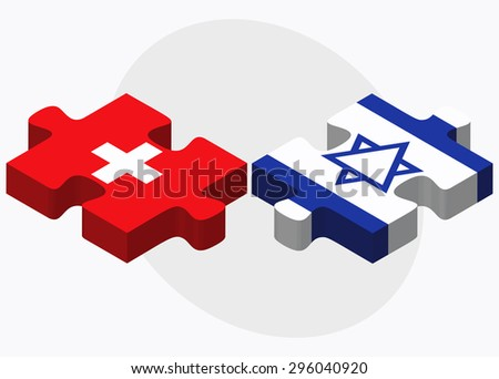 Vector Image - Switzerland and Israel Flags in puzzle isolated on white background - stock vector