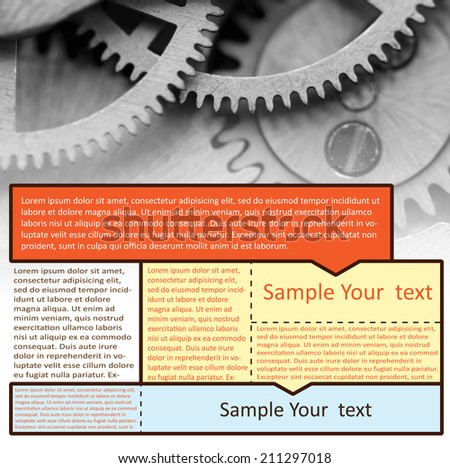Vector image technological  background for Your success design. Metal cogwheels a clockwork. Graphic elements  layout  for website - stock vector