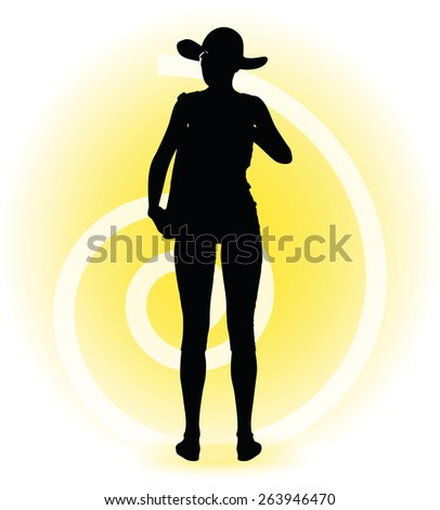Vector Image - Tourist woman silhouette with handbag and sunglasses  - stock vector