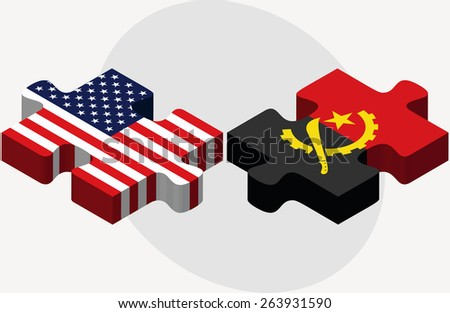 Vector Image - USA and Angola Flags in puzzle  isolated on white background