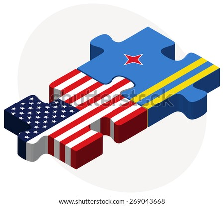 Vector Image - USA and Aruba Flags in puzzle isolated on white background