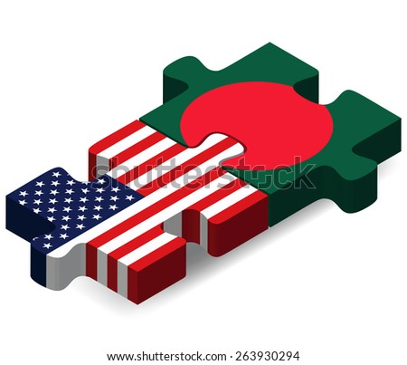 Vector Image - USA and Bangladesh Flags in puzzle  isolated on white background  - stock vector