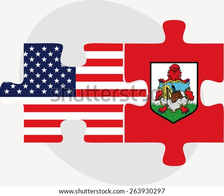Vector Image - USA and Bermuda Flags in puzzle  isolated on white background