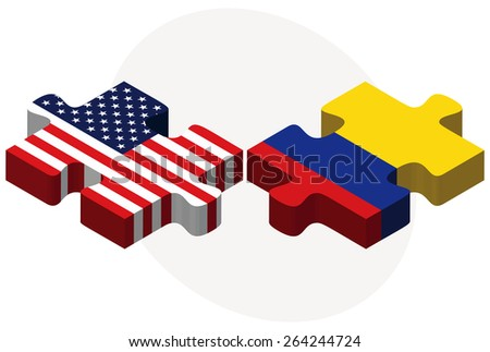 Vector Image - USA and Colombia Flags in puzzle  isolated on white background  - stock vector
