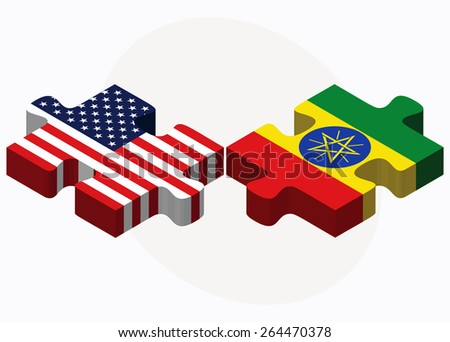 Vector Image - USA and Ethiopia Flags in puzzle  isolated on white background - stock vector