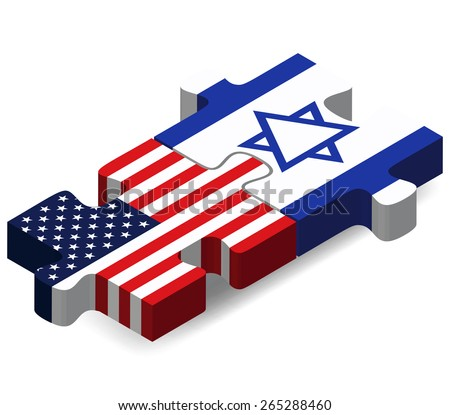 Vector Image - USA and Israel style Flags in puzzle  isolated on white background  - stock vector
