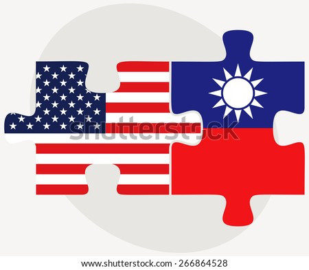 Vector Image - USA and Taiwan Flags in puzzle  isolated on white background - stock vector
