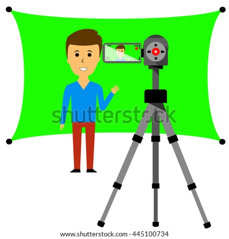 Vector Image video blogger with chromakey and video camera on a tripod - stock vector