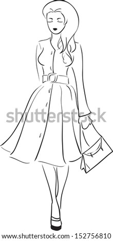 Vector image with going glamour woman in long topcoat / Glamour girl