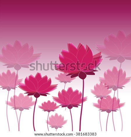 Vector image with many red lotus on white and purple background