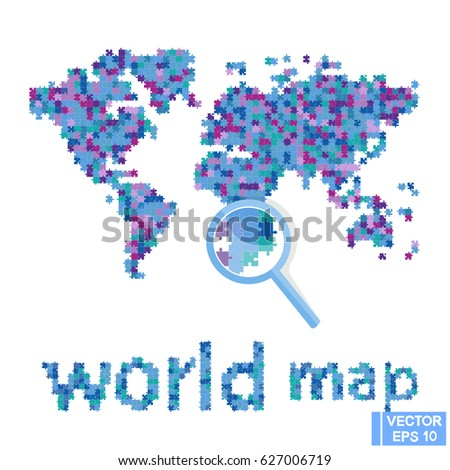 Vector image world map puzzle continents stock vector 2018 vector image world map puzzle continents from the mosaic gumiabroncs Images