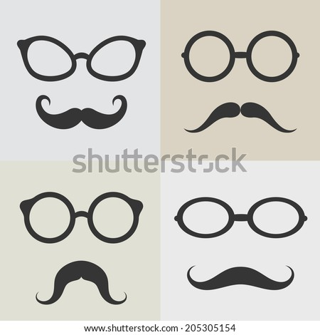 Vector images of glasses and mustaches on white background. - stock vector