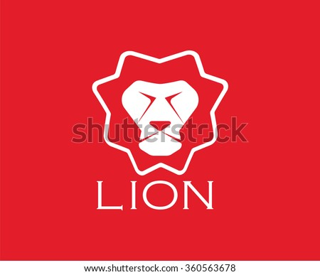 Vector images of lion head design on red background. - stock vector