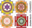 vector images of yantra(Bhuvaneshvari yantra, Shri Yantra, Mahamrityunjaya yantra) - stock vector