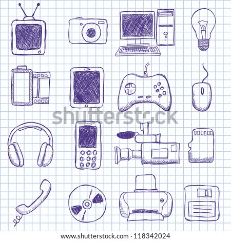 Vector images on electronics - stock vector