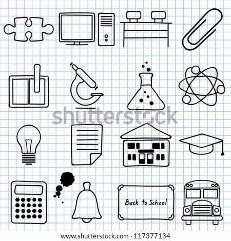 Vector images on school - stock vector