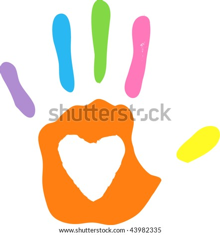 vector imprint of left hand - white areas of heart are transparent over any background