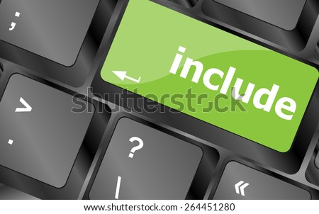 vector include word, social media icon on laptop keyboard - stock vector