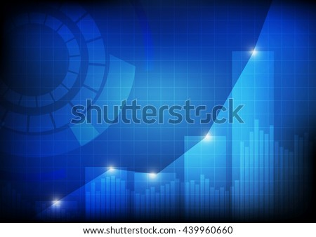 Vector :  Increasing bars and line graph chart with abstract circle - stock vector