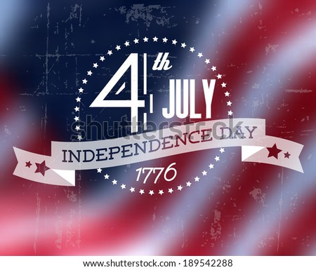 Vector independence day badge / poster - retro vintage version with american flag - stock vector