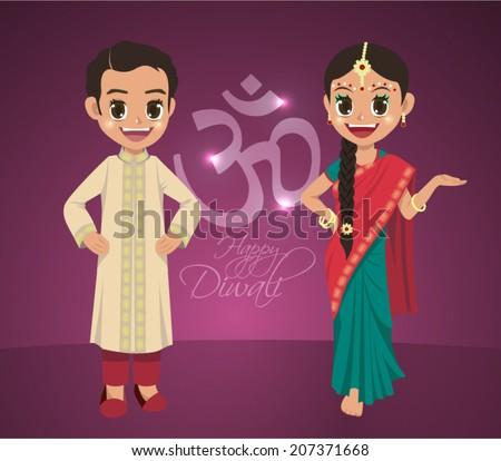 Vector Indian Boy and Girl Celebrating Deepavali - Happy Diwali. Translation: Diwali Aum (Om) Symbol - stock vector