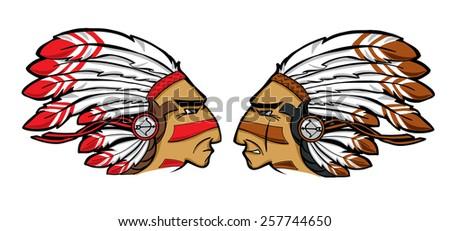 vector Indian chiefs heads  - stock vector