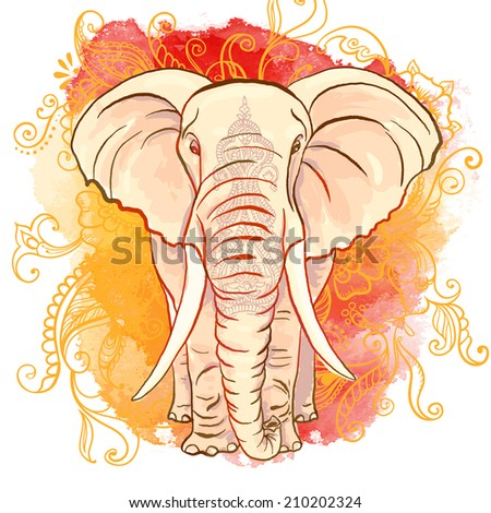 Vector Indian Elephant on the Watercolor Blot - stock vector