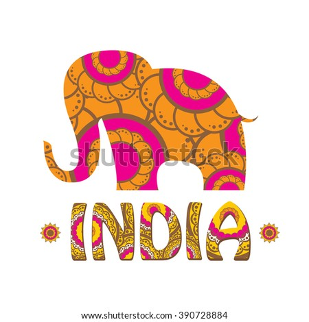 vector indian elephant with color pattern india travel background