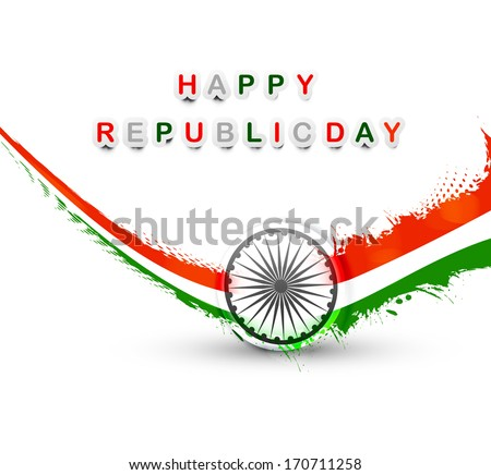 vector indian flag grunge wave style tricolor republic day design - stock vector