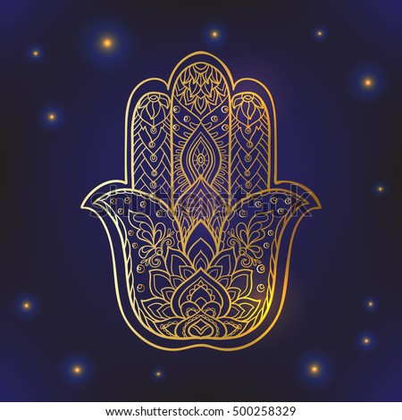 Vector Indian Hand Drawn Hamsa Symbol With Ethnic Ornaments Gold On Black Background