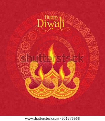 Vector Indian Hindu Fastival Paper Diwali Design Template with Diya - stock vector