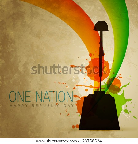 vector indian patriotic flag style art - stock vector