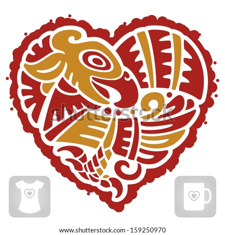 Vector Indian pattern of bird in the shape of heart - stock vector