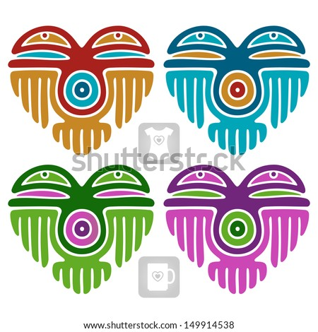 Vector Indian pattern set in the shape of heart - stock vector