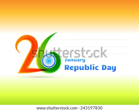 vector Indian republic day design celebrated on 26 January illustration in tricolor background - stock vector