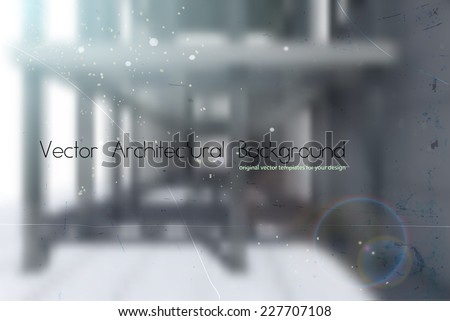 vector industrial background with blurred concrete building exterior and rich lighting - stock vector