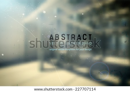 vector industrial background with blurred concrete building exterior and rich lights - stock vector