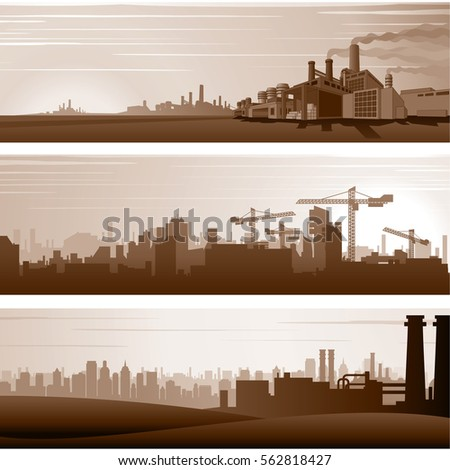 Vector Industrial Backgrounds and Urban Landscapes. Vector Banners Template