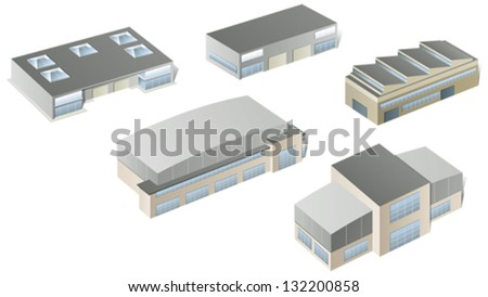 Vector industrial buildings and factories