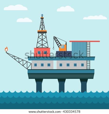 Vector industrial flat illustration offshore oil platform in sea background. Helipad, crane, derrick, hull column. - stock vector