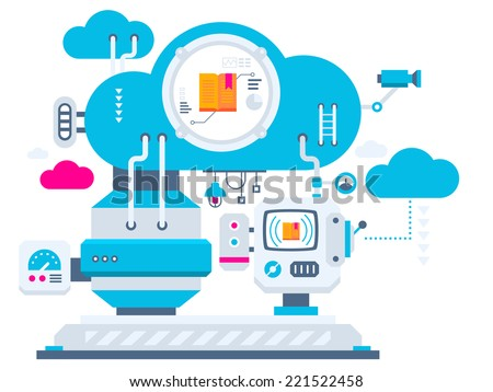 Vector industrial illustration background of the cloud technology for open books. Color bright flat design for banner, web, site, advertising, print, poster. - stock vector