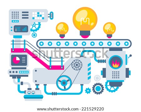 Vector industrial illustration background of the factory for manufacture bulbs. Color bright flat design for banner, web, site, advertising, print, poster. - stock vector