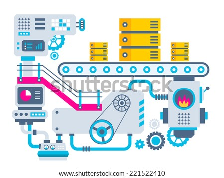 Vector industrial illustration background of the factory for manufacture servers. Color bright flat design for banner, web, site, advertising, print, poster. - stock vector